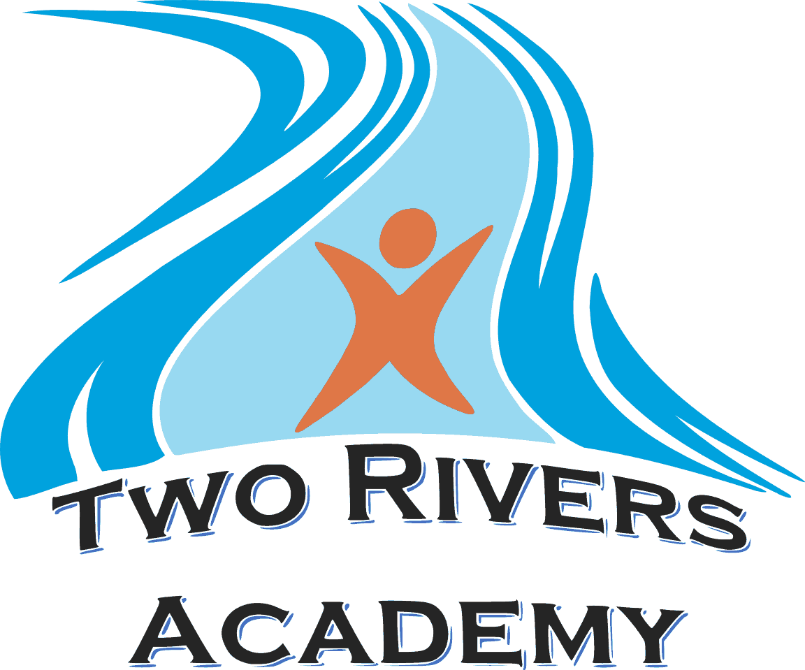The official logo for the Montessori school in Tahlequah, Two Rivers Academy